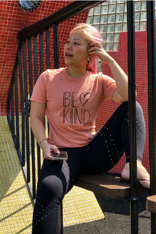 Be Kind - Poppie Pink With Black (Unisex Tee)