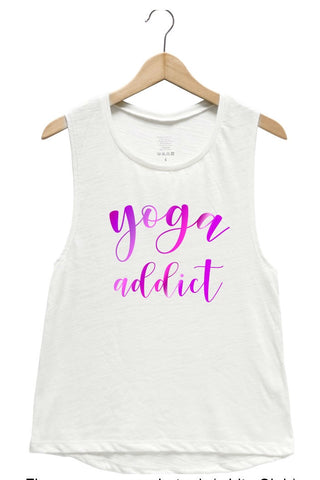 Yoga Addict Muscle Tank (Pink Foil)
