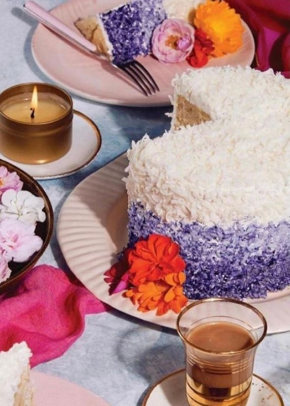 Hetal Vasavada of Milk and Cardamom's purple and blue gradient cake