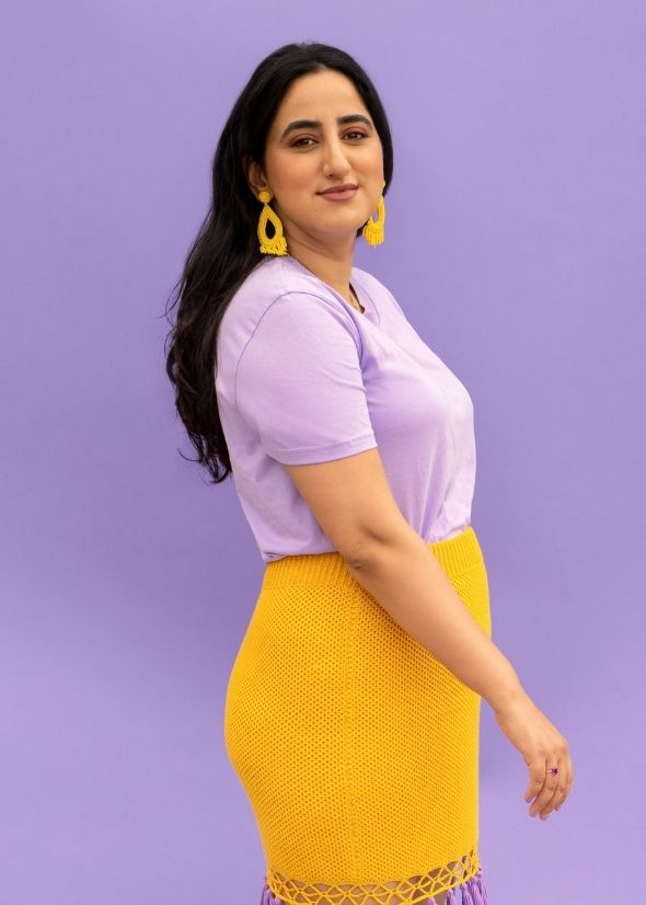 Founder Priyanka Ganjoo wearing lavender and yellow