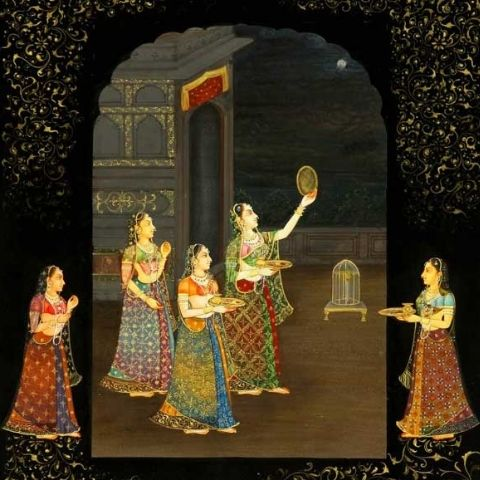 classical illustration of Karwa Chauth with women in traditional Indian dress