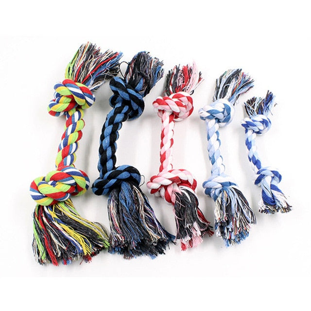 1pcs Pet Dog Puppy Double Cotton Chew knot toys pet supplies Clean teeth Durable Braided Bone Rope Random Color Pet molar toy - Chewy Dog Treats LLC