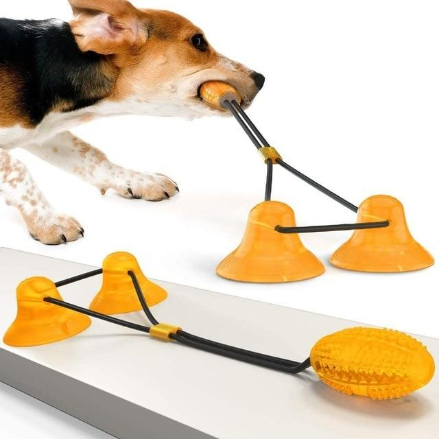 Dog Molar Bite Toy Multifunction Pet Chew Toys Upgraded Double Suction Cup Dog Pull Ball for Dogs Cleaning Tooth Food Dispenser - Chewy Dog Treats LLC