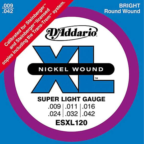 D'Addario ESXL120 Nickel Wound Double Ball End 9-42 Electric Guitar Strings Guitar Strings, D'Addario, Sounds Great Music