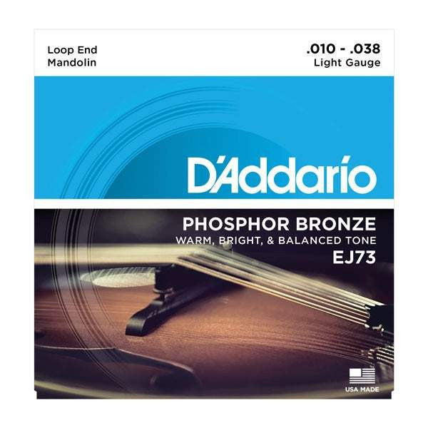 Daddario EJ73 Mandolin Strings, Phosphor Bronze, Light, 10-38 - Mandolin Strings - D'Addario - Sounds Great Music