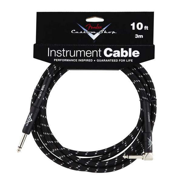 Fender Custom Shop Instrument Cable 10ft Angled Black FG10BSL Cable, Fender, Sounds Great Music