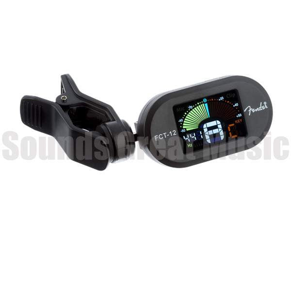 Fender FCT-12 Color Clip-On Tuner, Black Guitar Accessories, Fender, Sounds Great Music