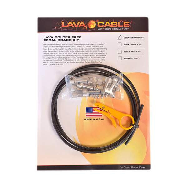 "Lava Cable Solder Free ""The Six Pack"" Cable Kit Black LCPBKTR6PK - Stomp Box - Lava Cable - Sounds Great Music"
