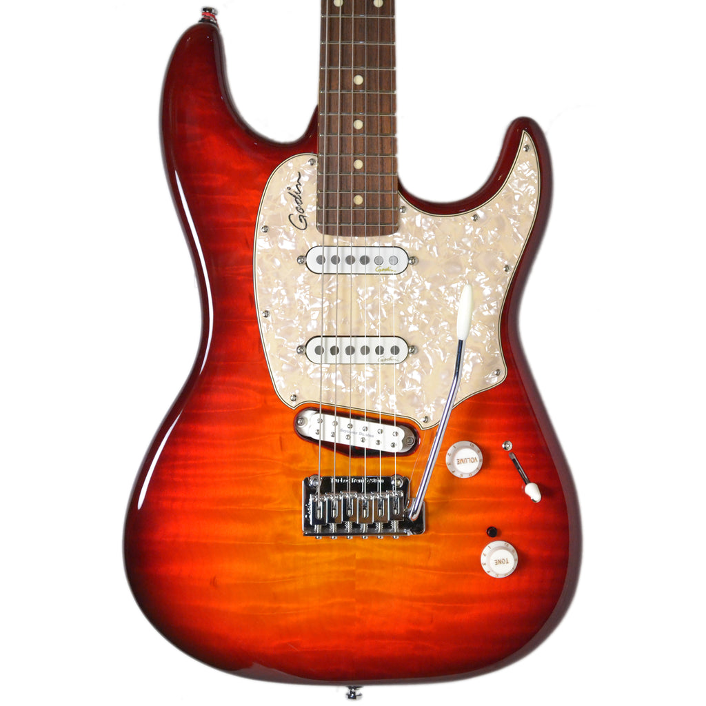 Godin Progression Plus Cherry Burst Flame, Rosewood Neck Electric Guitar Inc Deluxe Gig Bag
