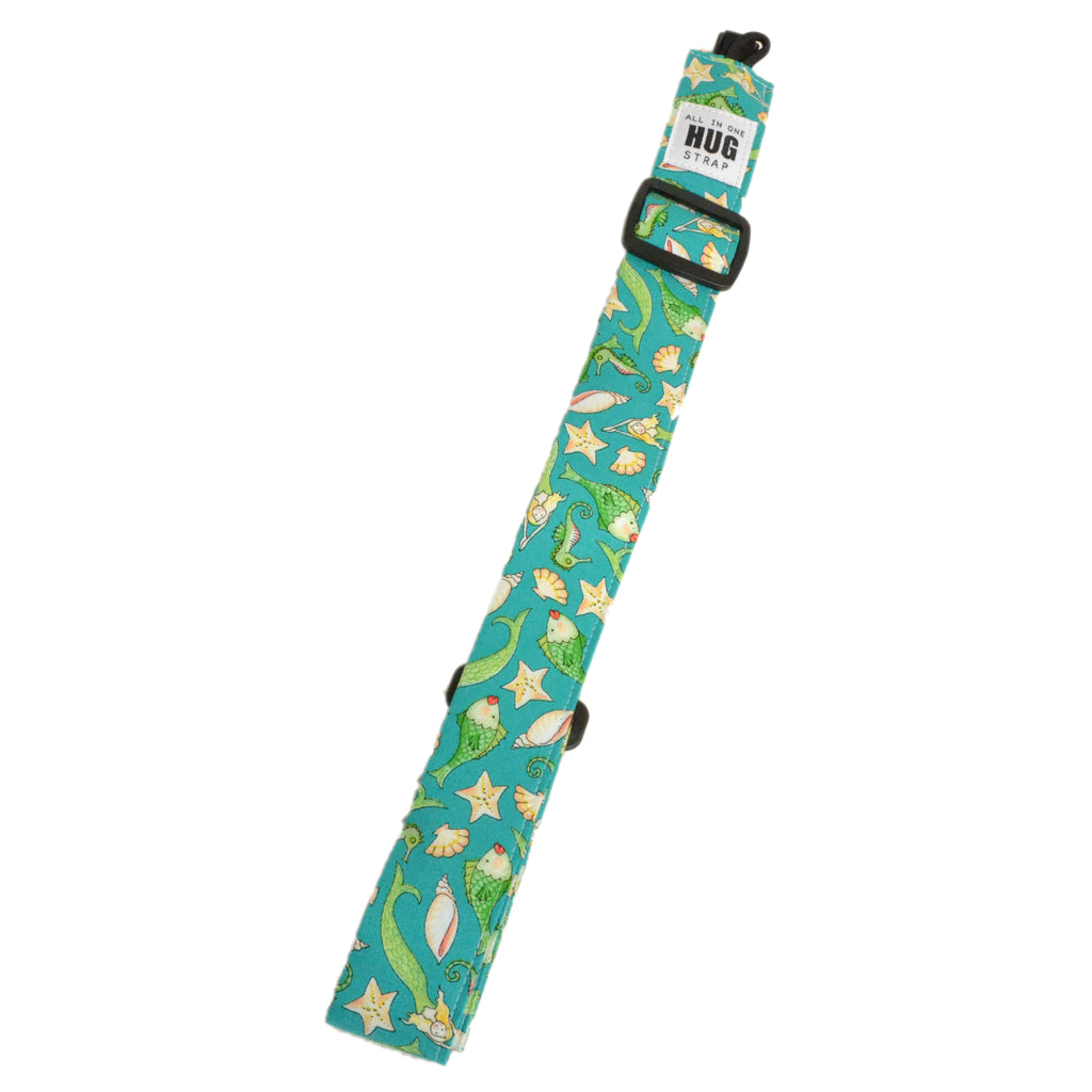 Hug Strap All in One Ukulele Strap Mermaids, Shells and Fish in Green