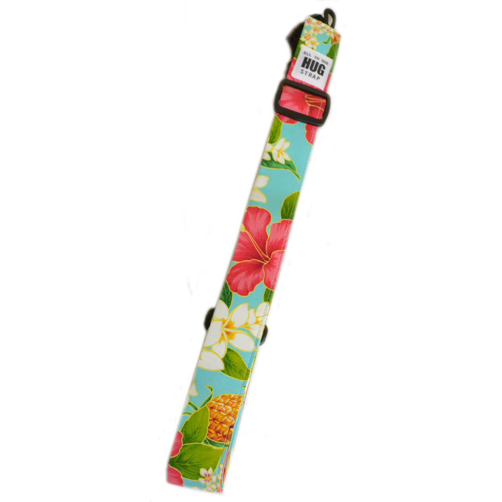 Hug Strap All in One Ukulele Strap Plumeria and Hibiscus on Aqua