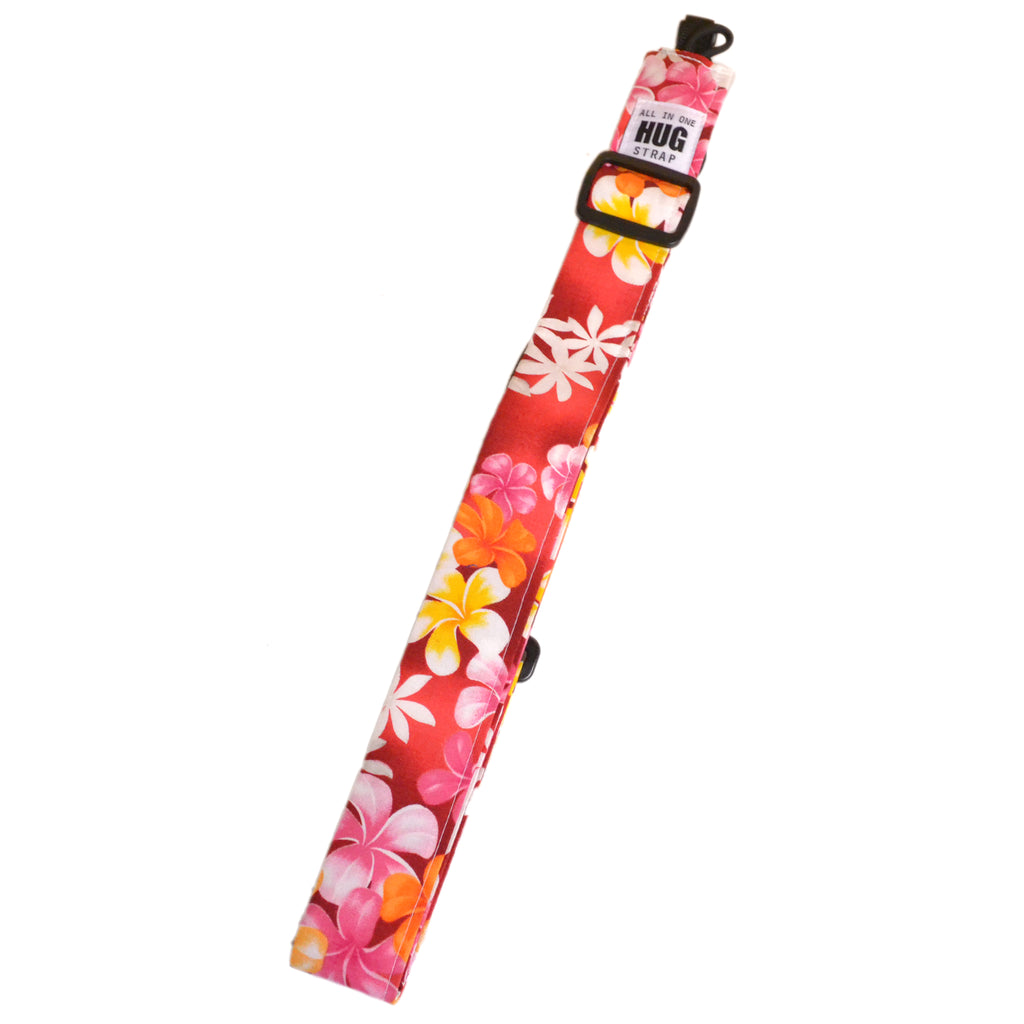 Hug Strap All in One Ukulele Strap Plumeria on Red