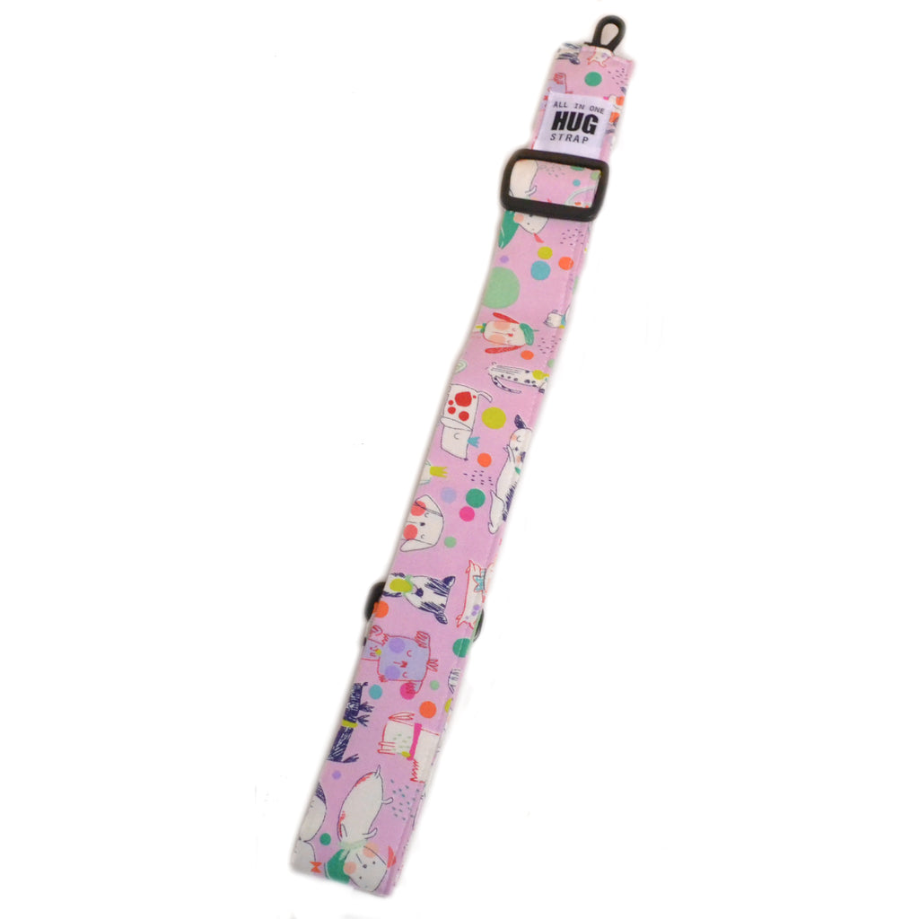 Hug Strap All in One Ukulele Strap Sleepy Dogs on Pink