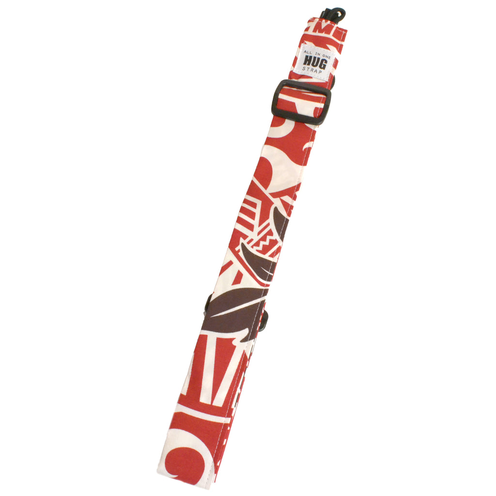 Hug Strap All in One Ukulele Strap Tapa Leaf in Red and Cream