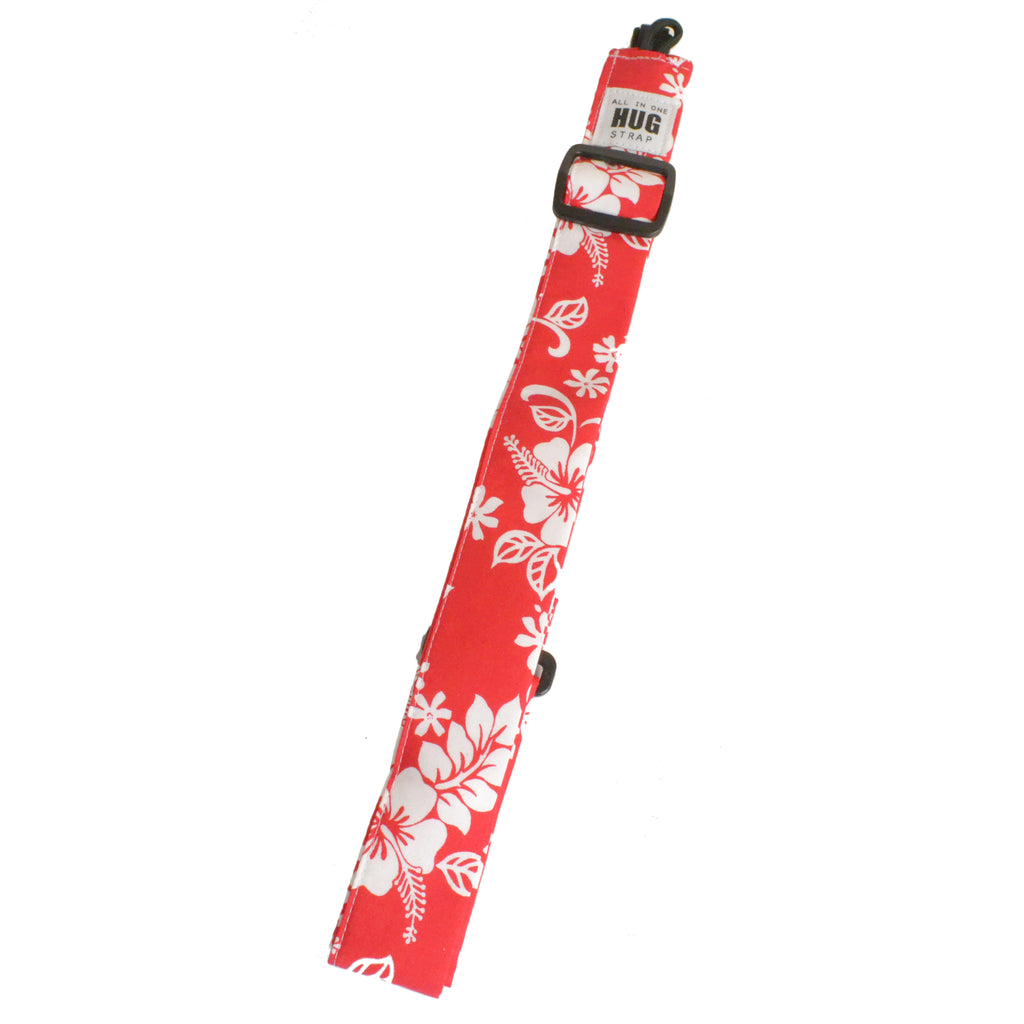 Hug Strap All in One Ukulele Strap White Hibiscus on Red
