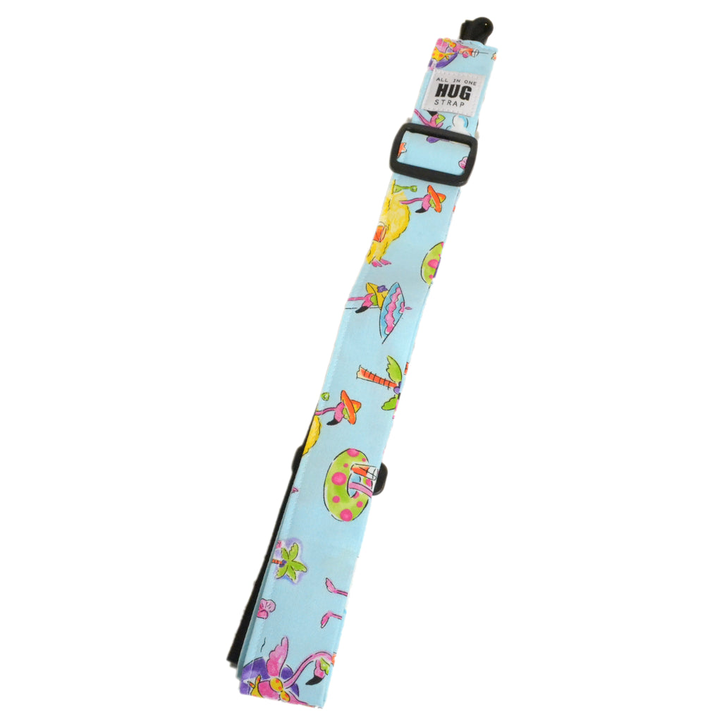 Hug Strap All in One Ukulele Strap Flamingoes on Vacation