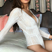 Load image into Gallery viewer, Ladies lace long sleeve perspective sexy Teddies