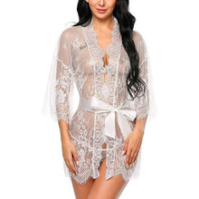 Load image into Gallery viewer, Women's lace belt long sleeves Gowns&Robes