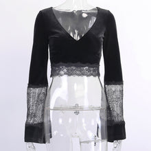 Load image into Gallery viewer, Gothic Style Sexy perspective open navel lace flared sleeve top