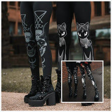 Load image into Gallery viewer, Women's fashion printed black Gothic sports bottoming yoga pants