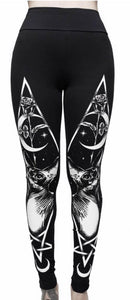 Women's fashion printed black Gothic sports bottoming yoga pants
