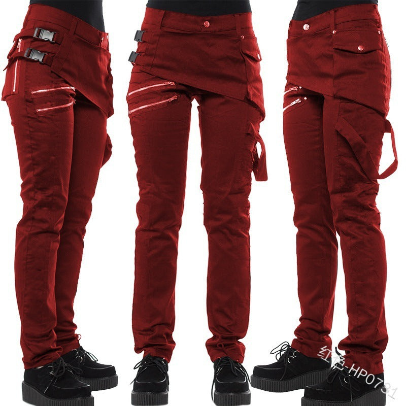 Women's Rivet motorcycle Leggings zipper pocket casual pants