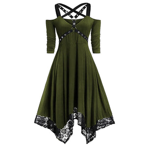 Ladies punk style solid lace hem irregular dress