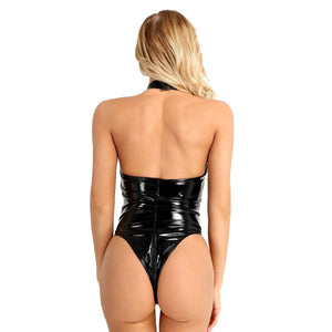 Goth lacquer leather suit open crotch open chest locomotive suit PV