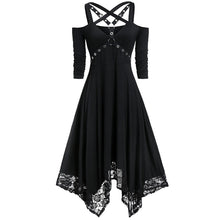 Load image into Gallery viewer, Ladies punk style solid lace hem irregular dress