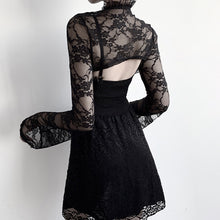 Load image into Gallery viewer, Women's long-sleeved perspective lace collar short top