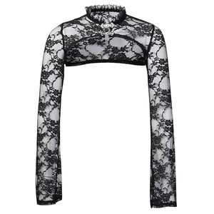 Women's long-sleeved perspective lace collar short top
