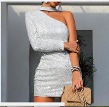 Load image into Gallery viewer, Women's stylish off-the-shoulder silver silk bag hip skirt