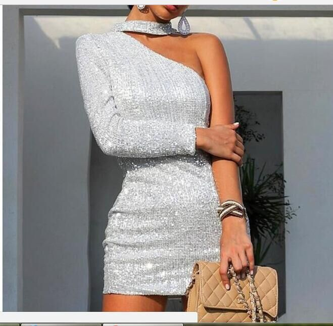 Women's stylish off-the-shoulder silver silk bag hip skirt
