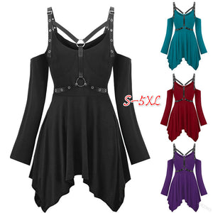 Women's rivet ring belt sexy jacket irregular solid color dress