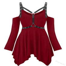 Load image into Gallery viewer, Women's rivet ring belt sexy jacket irregular solid color dress