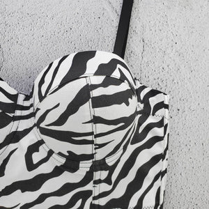 Ladies slim slim sexy zebra vest