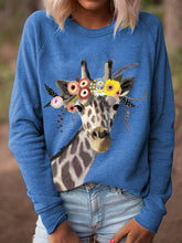 Load image into Gallery viewer, Women Giraffe Floral Print Long Sleeves Casual T-Shirts