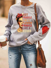 Load image into Gallery viewer, Women's Frida Kahlo Not Fragile Like A Flower Fragile Like A Bomb Heart Print Sweatshirt