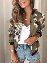 Load image into Gallery viewer, Stand Neck Zipper Long Sleeve Printed Jacket
