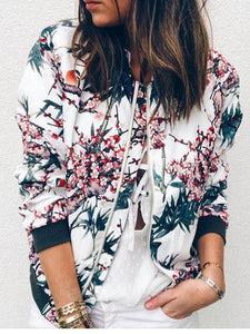 Stand Neck Zipper Long Sleeve Printed Jacket