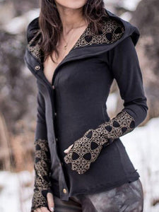 Printed Buttoned Long Sleeve Women Hoodies