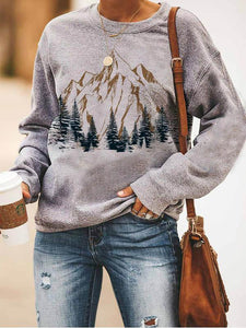 Loose casual crew neck mountain forest print Sweatshirt