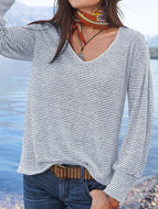 Striped Long Sleeve Women Tops & T-shirts
