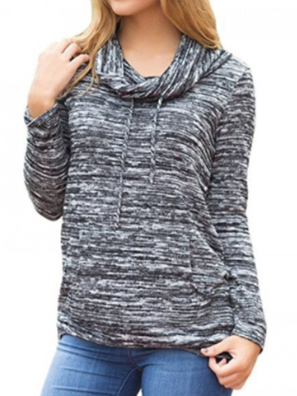 Womens Cowl Neck Pocket Long Sleeve Pullover Sweater Shirt