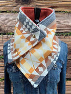 Vintage Tribal Print Buttoned Down Cowl Scarves