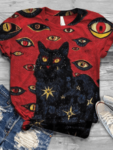 Load image into Gallery viewer, Women Cat printed short-sleeved T-shirt