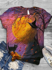 Ladies Halloween Witch Cat Printed T-shirts