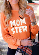 Halloween Momster Printed Long Sleeve T-shirt
