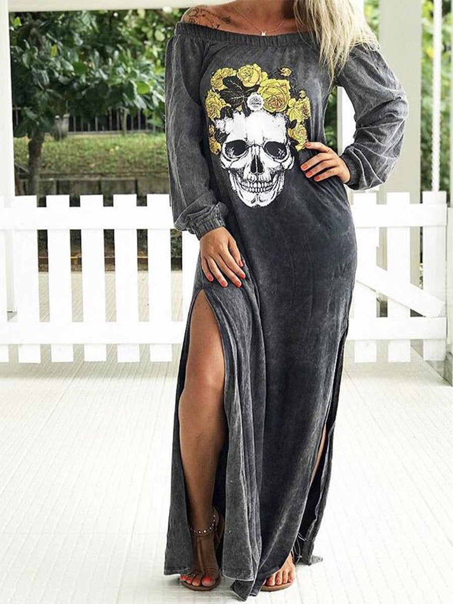 Women's round neck sunflower skull print long sleeve dress