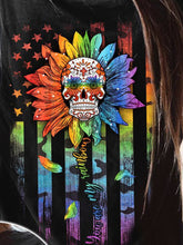 Load image into Gallery viewer, Women's round neck sunflower skull print long sleeve T-shirt